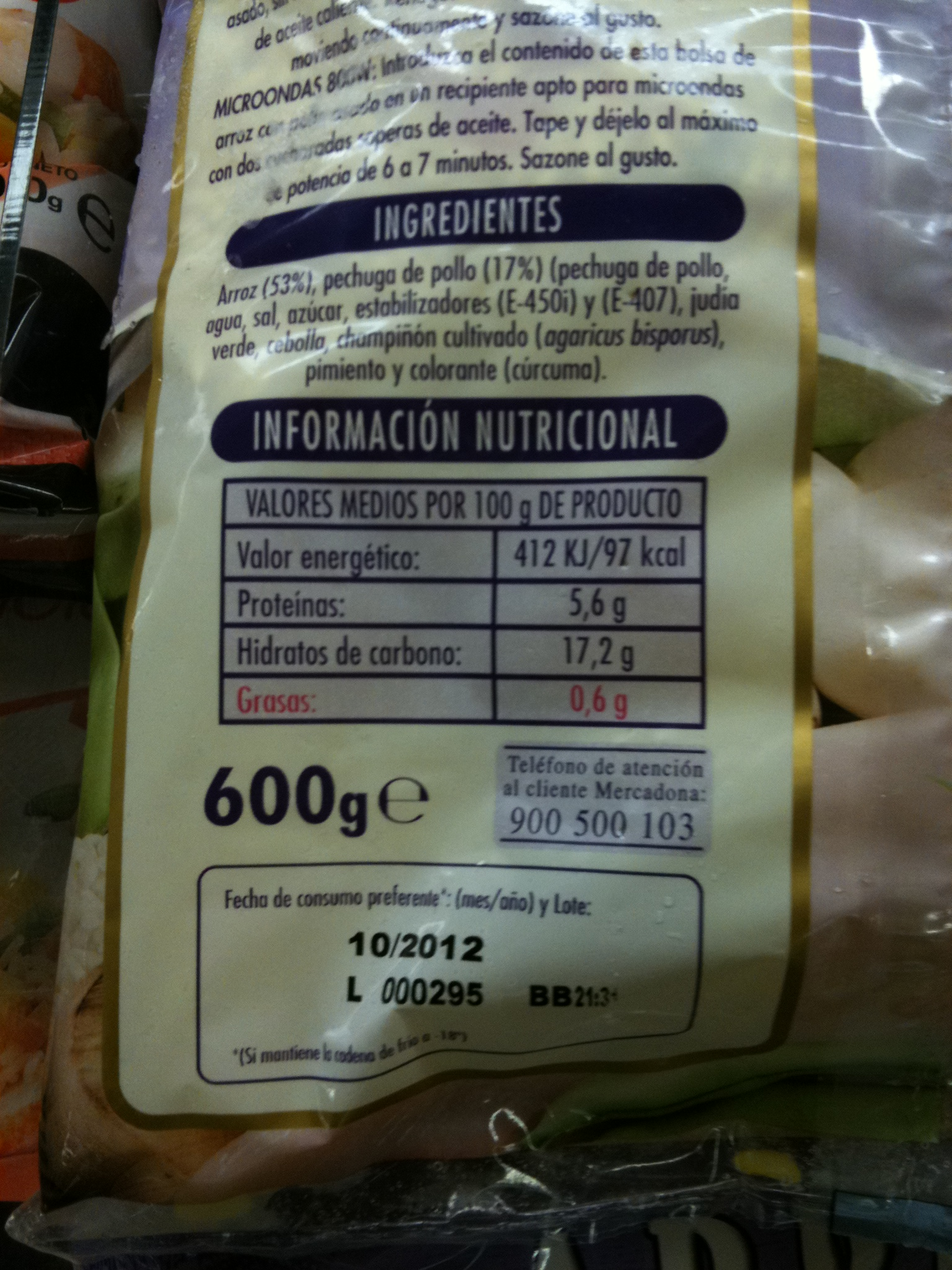 valor nutricional pollo asado